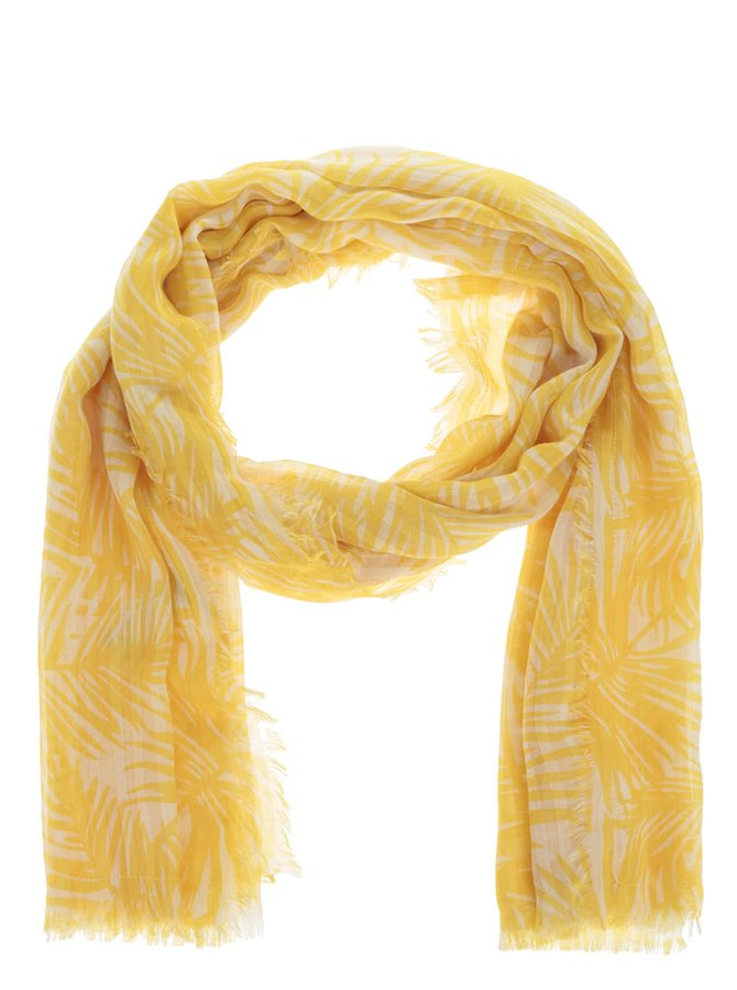 Eșarfă crem Pieces Simba cu model floral galben