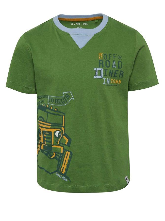 Tricou verde cu print 5.10.15. din bumbac