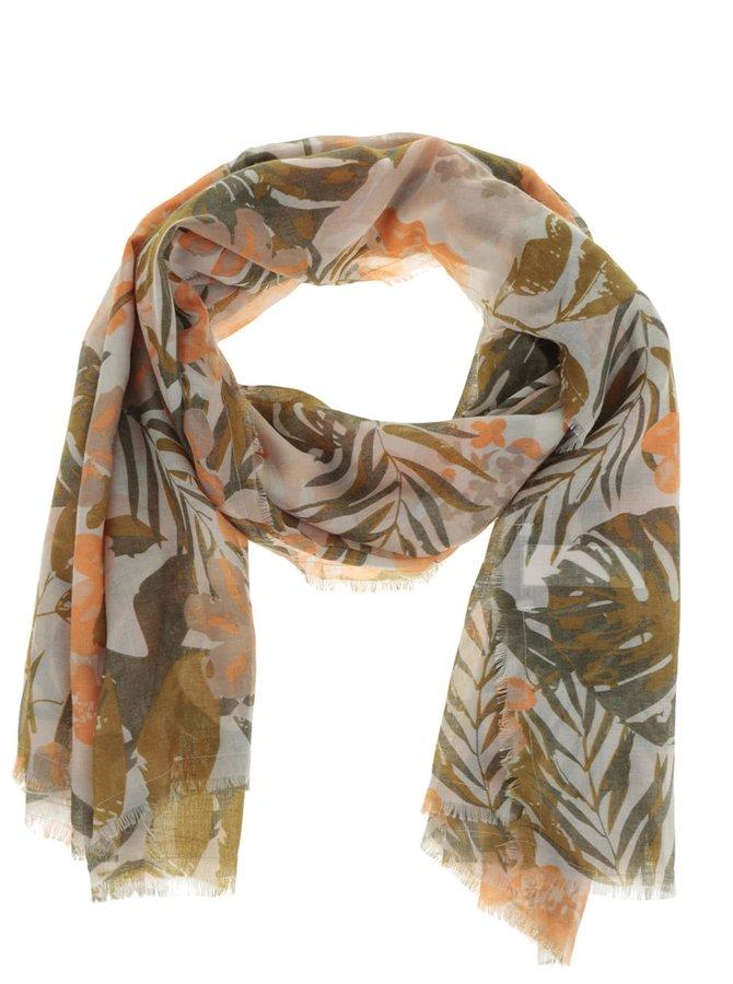 Zeleno-oranžový dlouhý vzorovaný šátek Pieces Sally