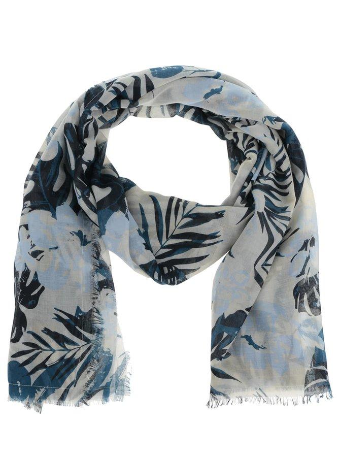 Šedo-modrý dlouhý vzorovaný šátek Pieces Sally