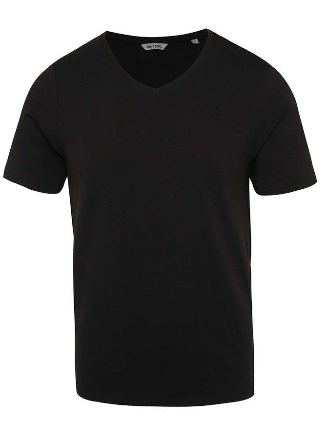 Tricou negru ONLY & SONS Basic din bumbac