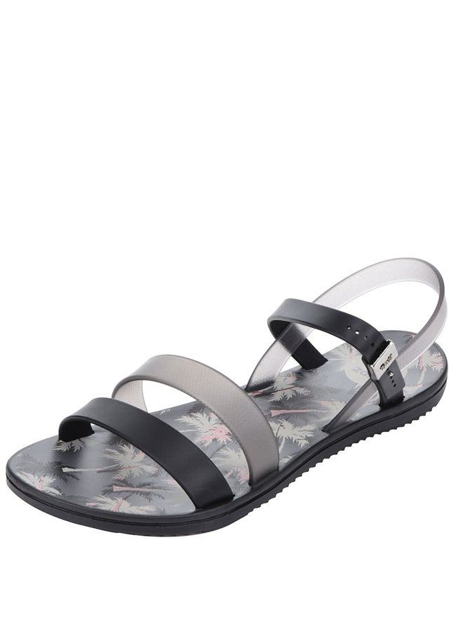Černé dámské sandály s tropickým motivem Zaxy