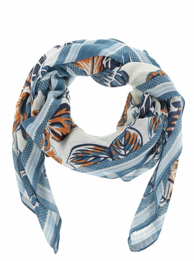 Oranžovo-modrý vzorovaný šátek Pieces Sille Pieces Sandy