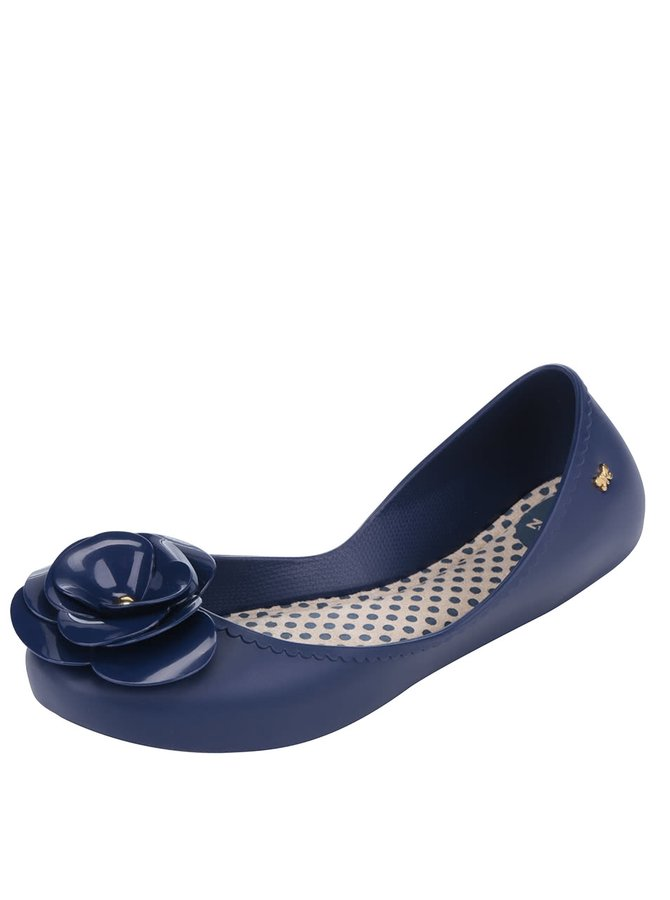Tmavě modré baleríny s květem Zaxy