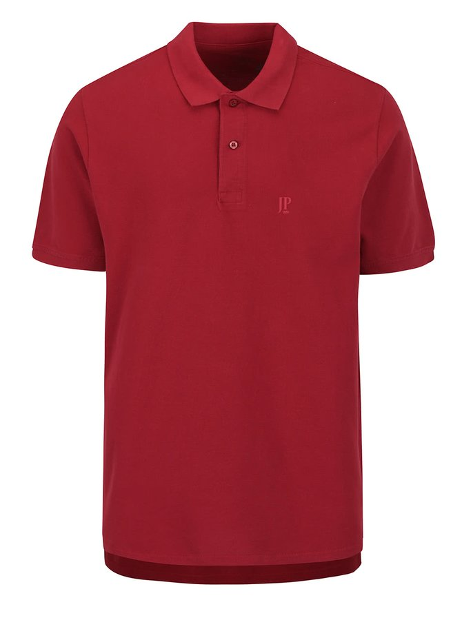 Tricou polo roșu închis JP 1880 cu șlițuri laterale
