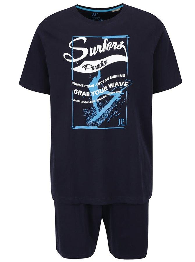 Set de pijama bleumarin JP 1880 cu tricou și pantaloni scurți