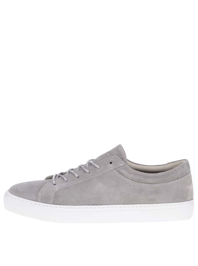 Pantofi sport gri deschis Jack & Jones Glaxy din piele întoarsă