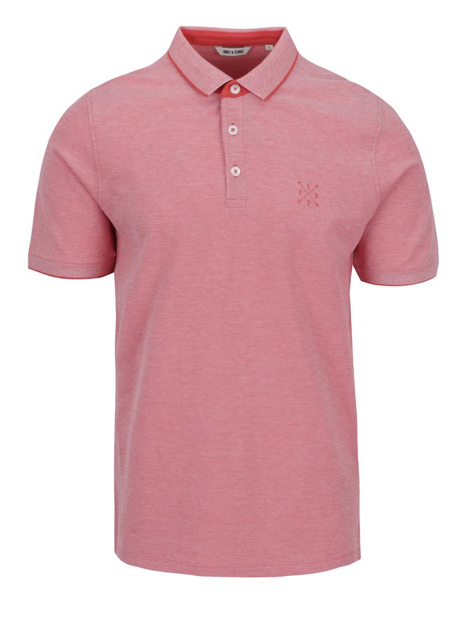 Tricou polo roșu deschis ONLY & SONS Stan din bumbac cu logo