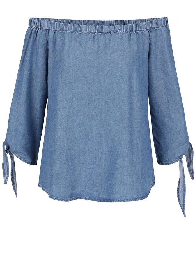 Modrý džínový top s odhalenými rameny ONLY India
