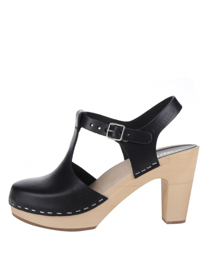 Sandale negre sabot din piele cu vârf acoperit și toc Swedish Hasbeens T-Strap Sky High