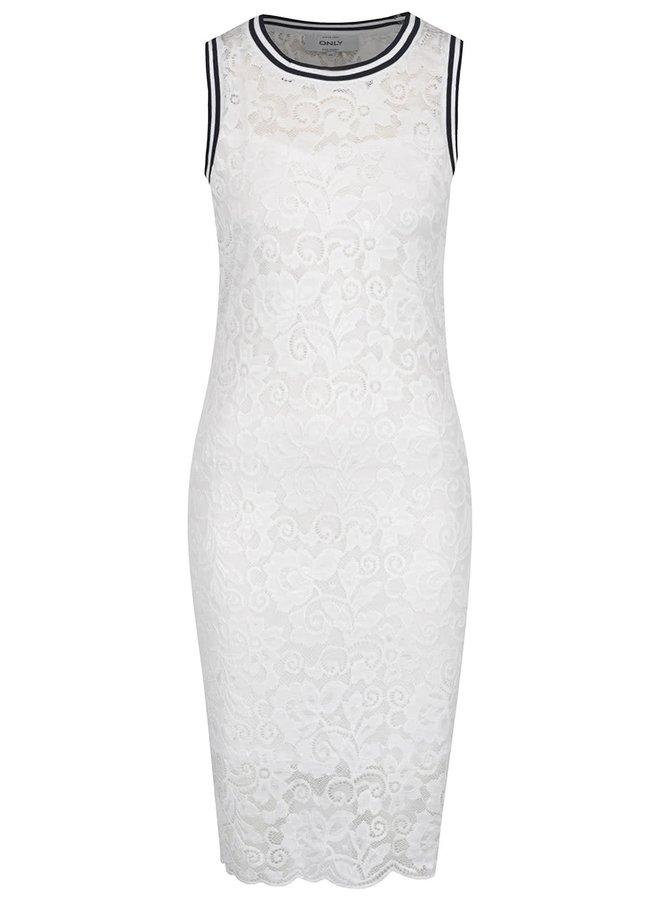 Bílé krajkové šaty bez rukávů s detaily ONLY Gwen