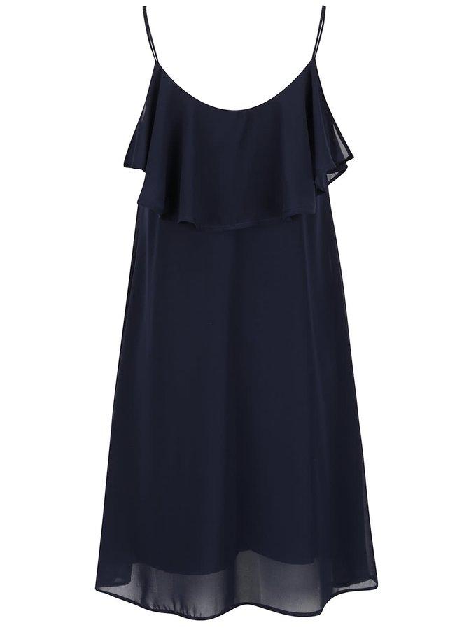 Tmavě modré lehké šaty s volánem VERO MODA Tyler