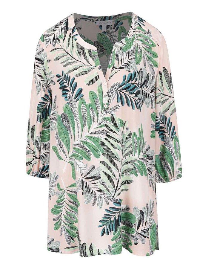 Zeleno-růžová halenka s tropickým vzorem Gina Laura