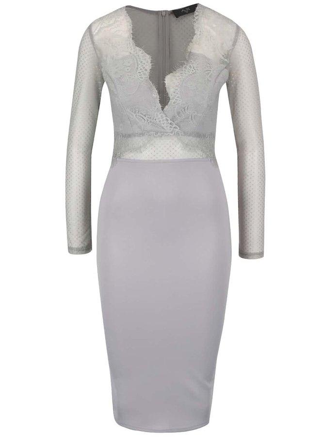 Šedé šaty s dlouhým rukávem AX Paris