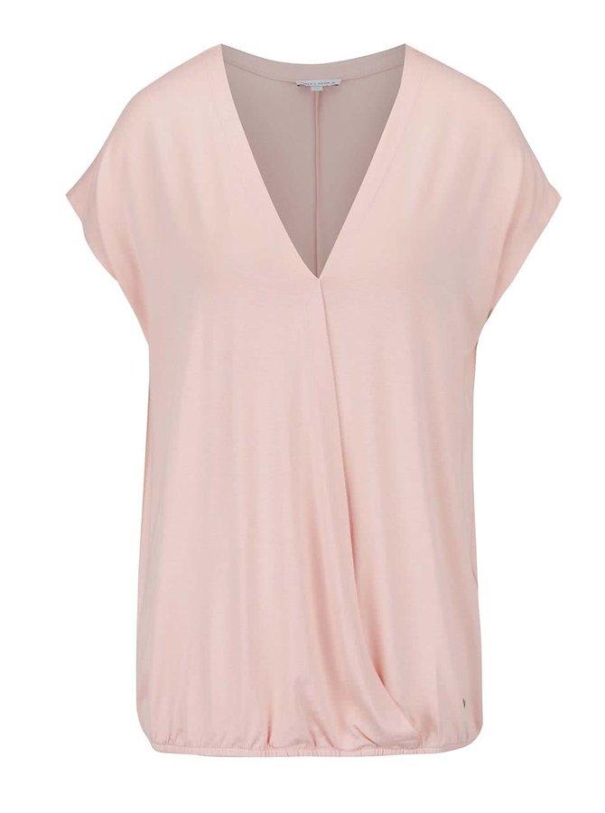 Světle růžové tričko s překládanou přední částí Gina Laura
