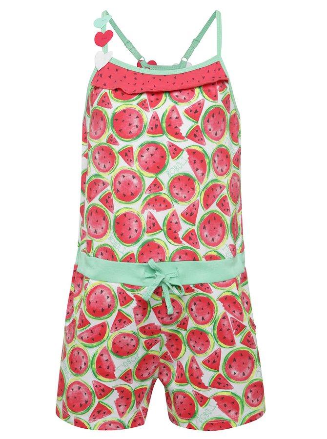 Salopetă roșu & verde Bóboli din bumbac cu model pentru fete