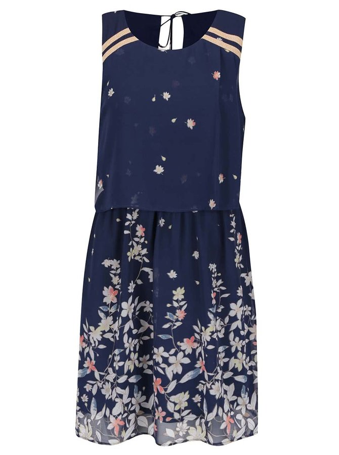 Tmavě modré květované šaty bez rukávů VERO MODA Lea