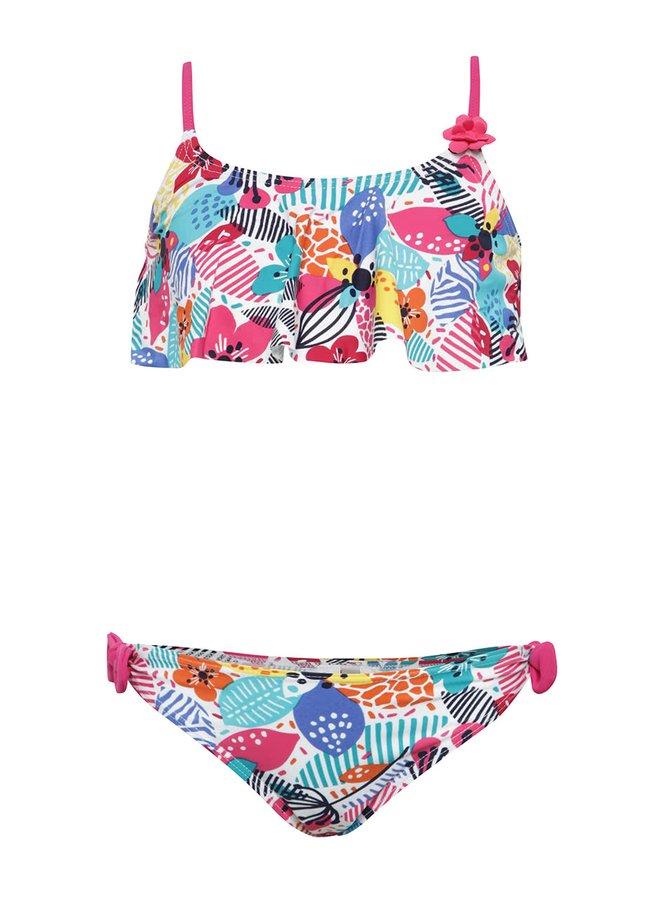 Růžové vzorované holčičí dvoudílné plavky Bóboli