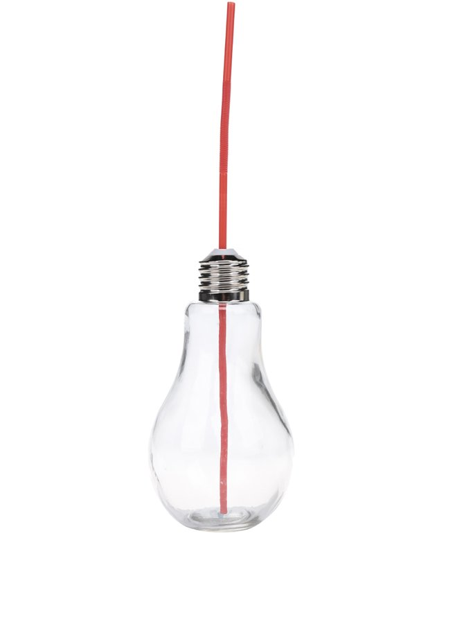 Malá sklenice s červeným brčekm ve tvaru žárovky Dakls