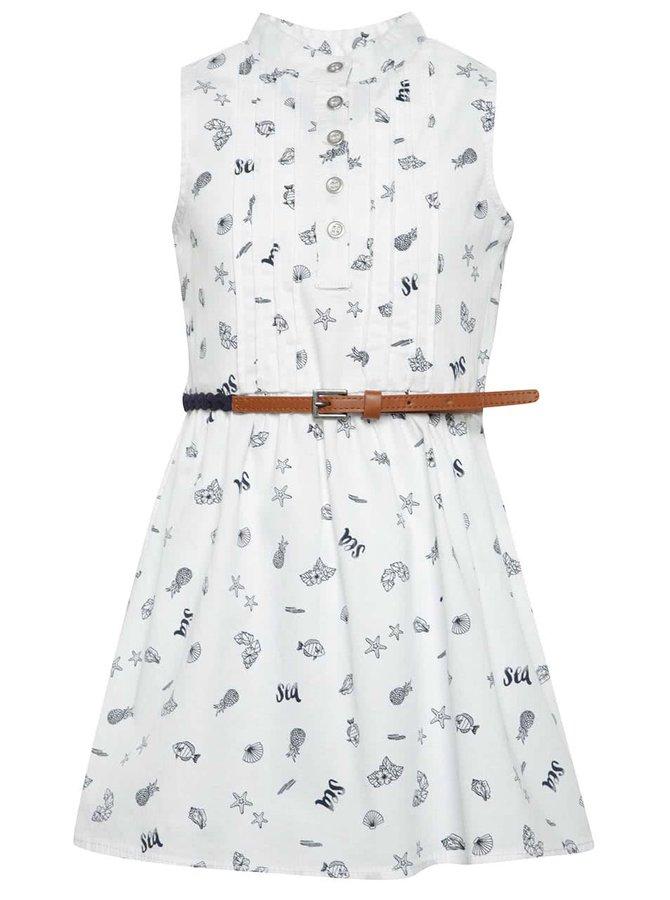 Bílé vzorované holčičí šaty s páskem Bóboli