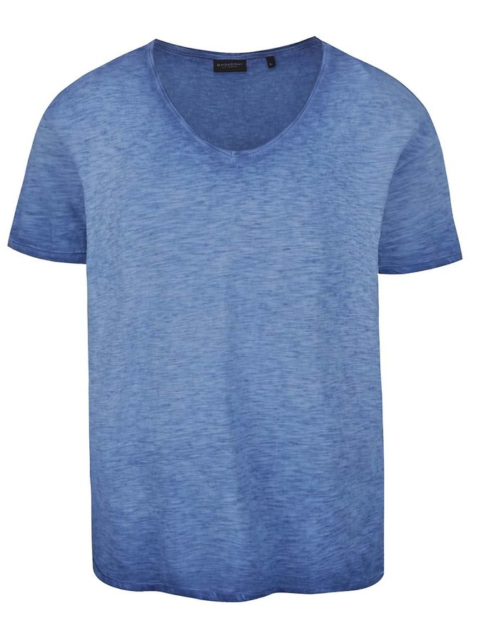 Tmavě modré žíhané pánské oversize triko Broadway Zig