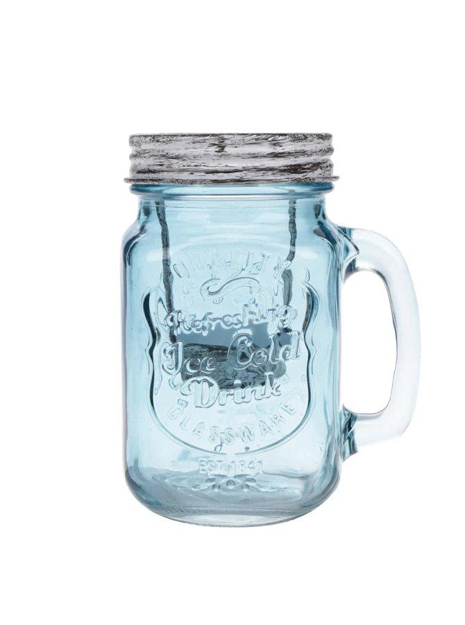 Suport pentru lumânare Dakls din sticlă albastră