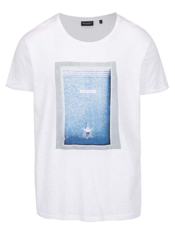 Tricou alb Broadway Enea cu print albastru