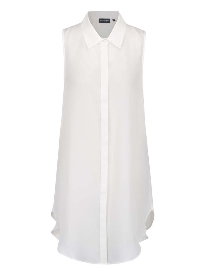 Krémová dámská dlouhá průsvitná košile bez rukávů Broadway Docie