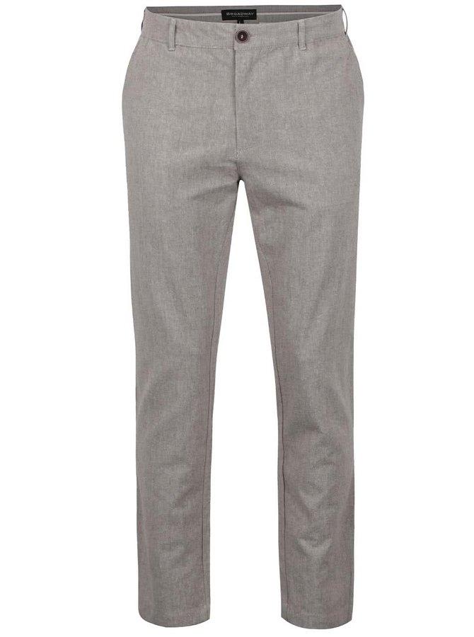 Světle hnědé žíhané pánské lněné kalhoty Broadway Dennis