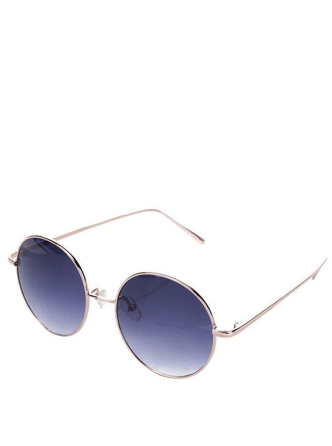 Modré kulaté sluneční brýle s obroučkami v růžovozlaté barvě Haily´s Trisha
