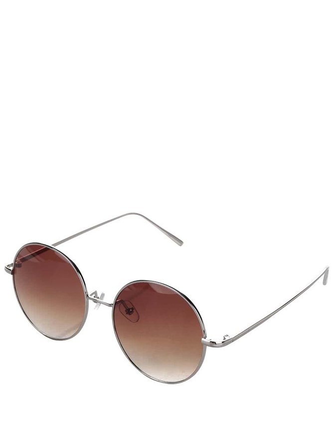 Hnědé kulaté sluneční brýle s obroučkami ve stříbrné barvě Haily´s Trisha