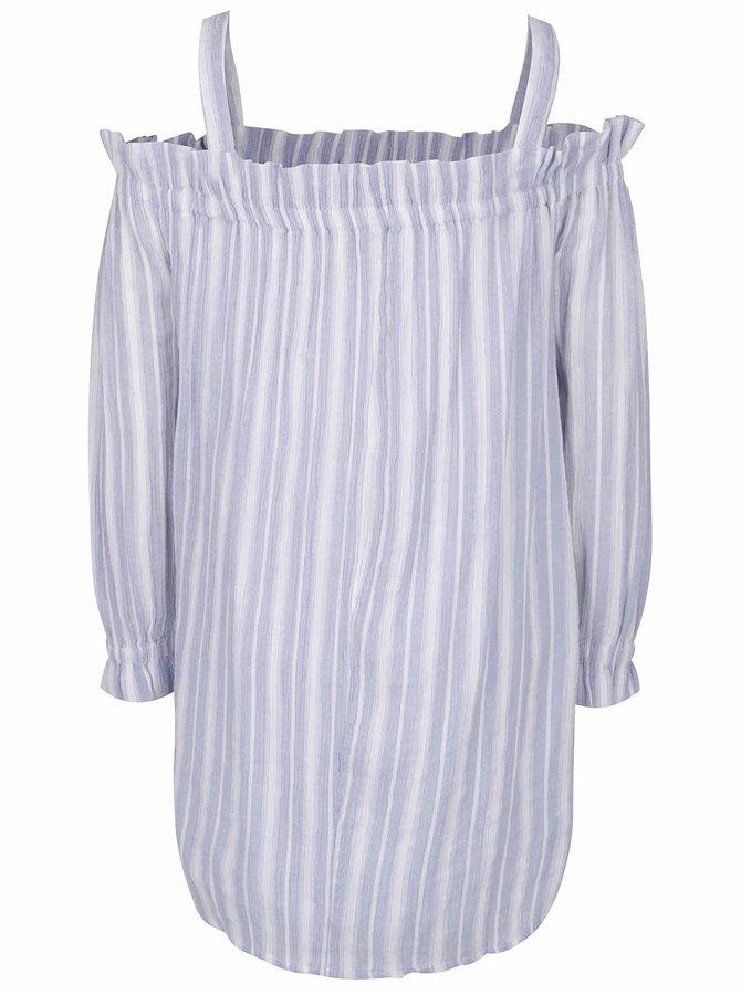 Krémovo-modré pruhované šaty s odhalenými rameny Miss Selfridge