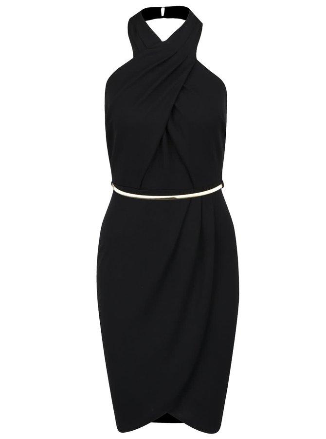 Černé šaty s páskem ve zlaté barvě Miss Selfridge
