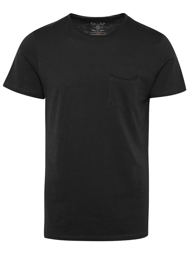 Černé žíhané triko s kapsou Blend