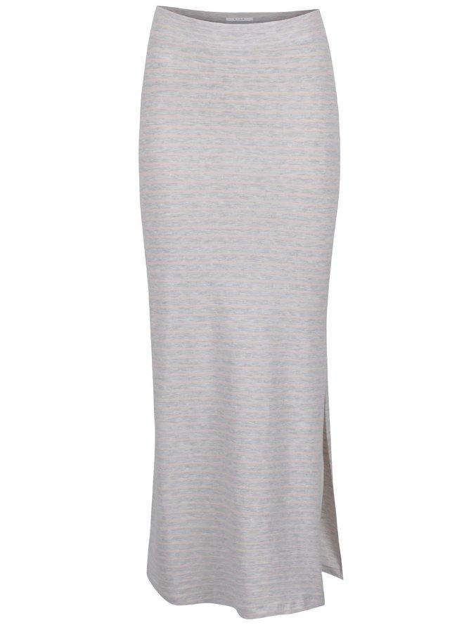 Růžovo-šedá maxi sukně s rozparkem VILA Honesty