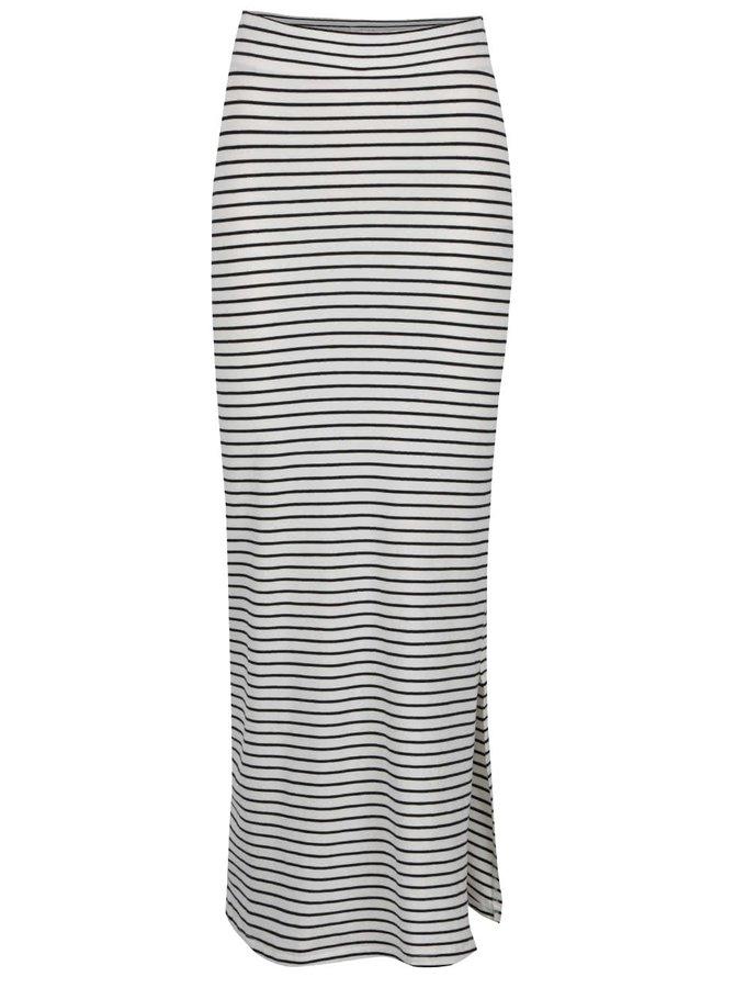 Krémovo-černá pruhovaná maxi sukně s rozparkem VILA Honesty