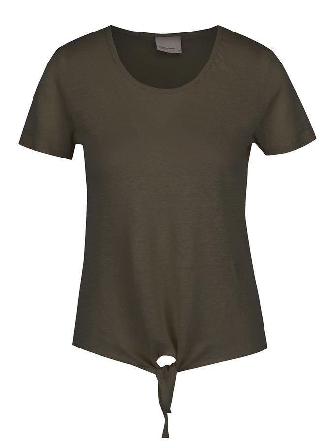 Khaki lněné tričko s uzlem Vero Moda Reza