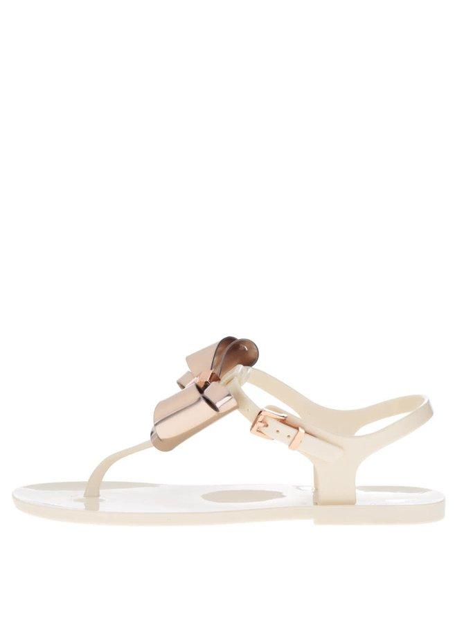 Sandale flip-flop crem Ted Baker cu fundă oversized