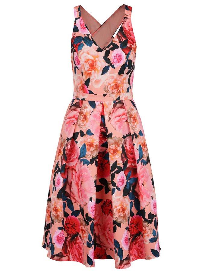 Růžové květované šaty s překříženými ramínky na zádech Dorothy Perkins