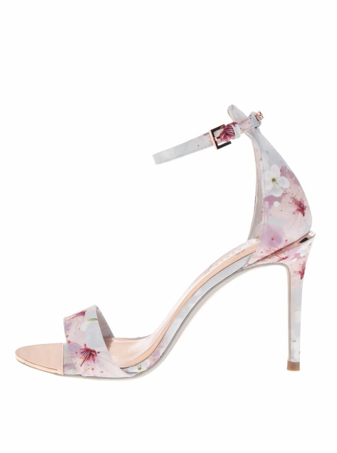 Modré kvetované sandále na podpätku Ted Baker