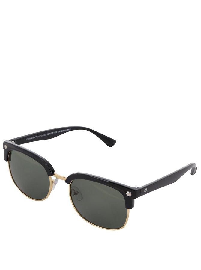 Černé unisex sluneční brýle s detaily ve zlaté barvě CHPO Casper