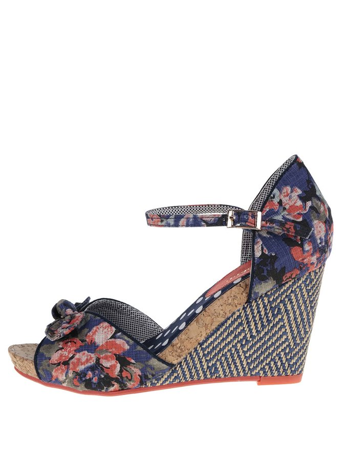 Tmavě modré květované sandály na klínku Ruby Shoo Molly