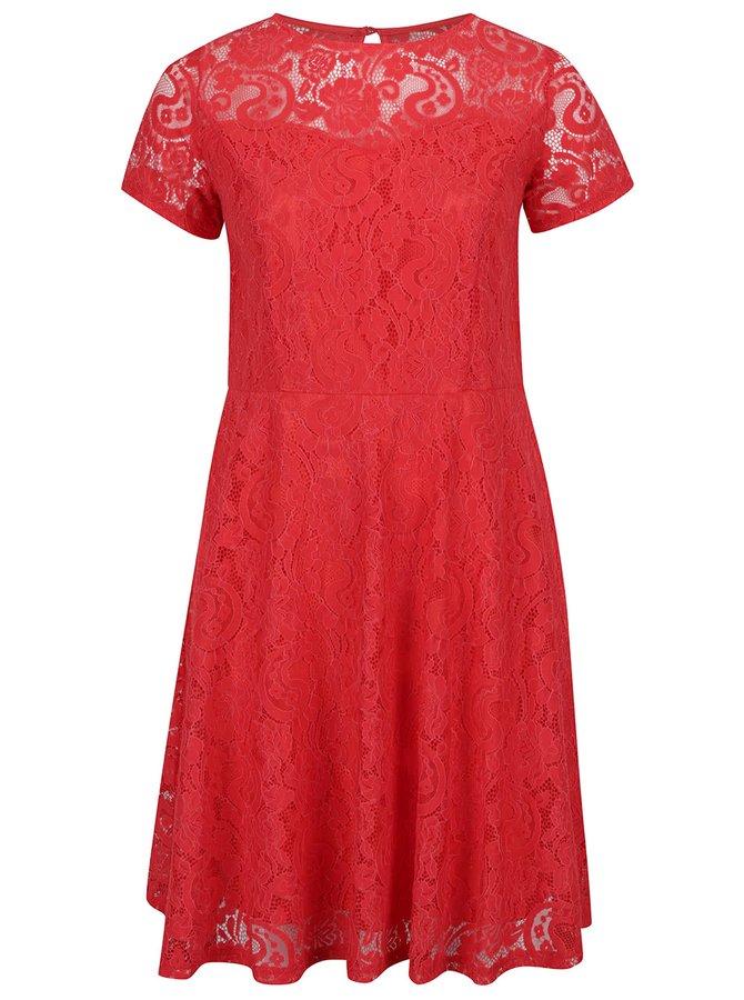 Červené krajkové šaty s krátkým rukávem Dorothy Perkins Curve
