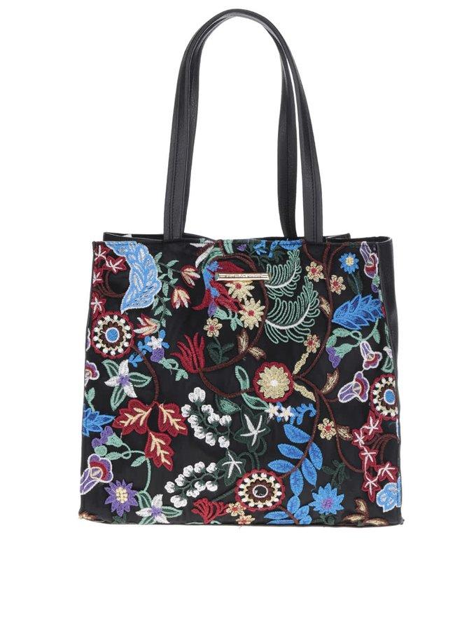 Černá kabelka do ruky s výšitými květy Dorothy Perkins
