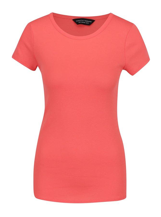Korálové basic tričko s krátkým rukávem Dorothy Perkins