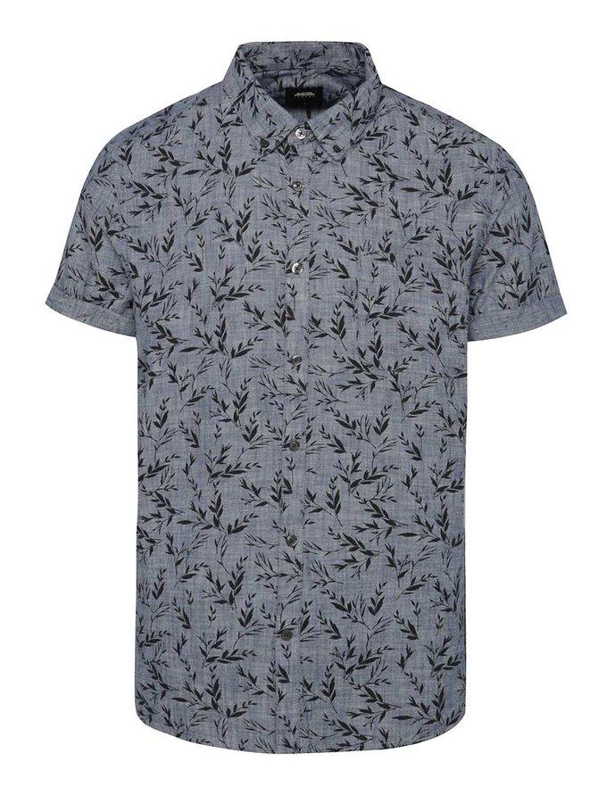 Modrošedá vzorovaná košile Burton Menswear London
