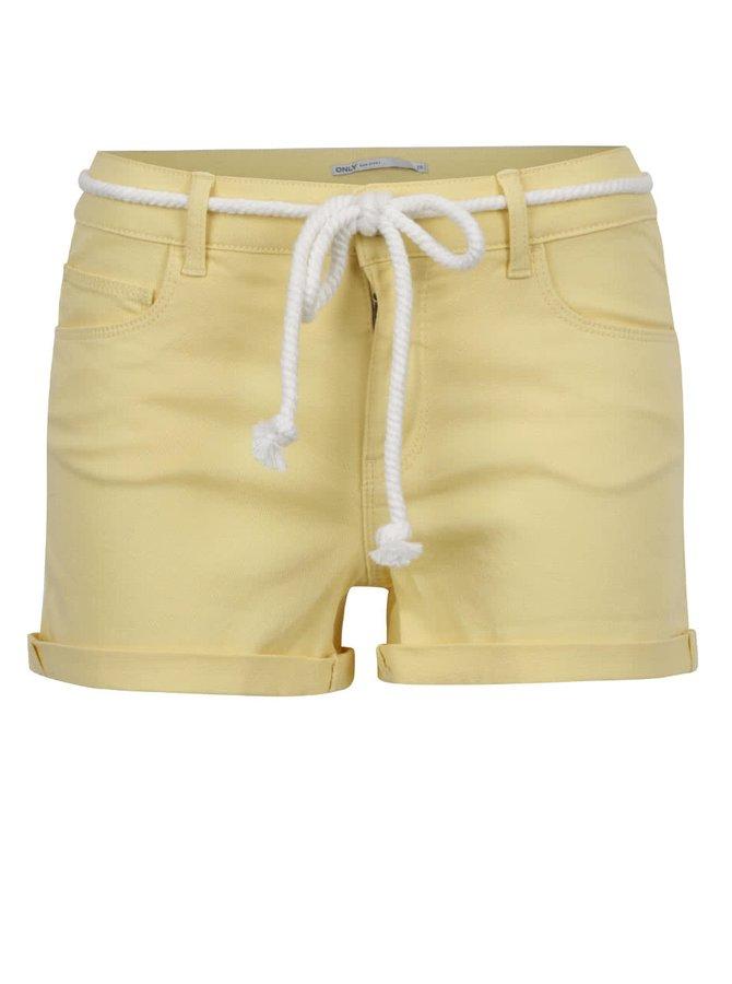 Pantaloni scurți galbeni ONLY Claudia cu șnur decorativ