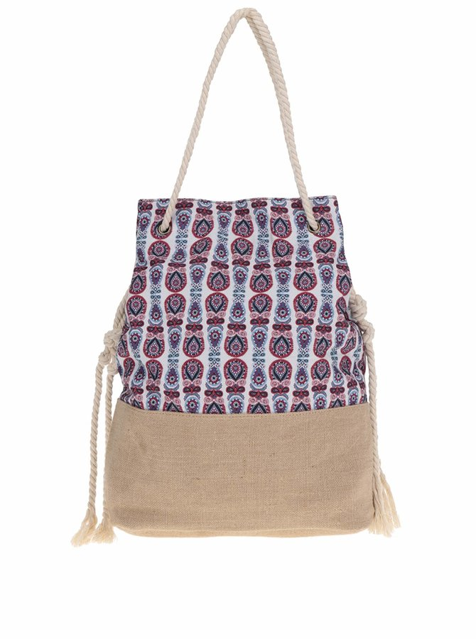 Hnědo-krémová vzorovaná kabelka Pieces Lainey