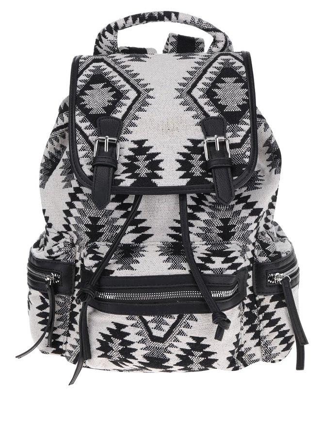 Černo-krémový vzorovaný batoh Pieces SImone