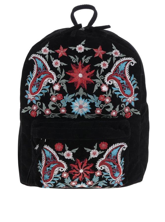 Černý batoh s výšivkami Pieces Jessica